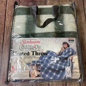 """Vintage NEW Sunbeam Cuddle Up Automatic Heated Throw Green White Checker 50""""x60"""""""
