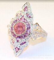 Boho 925 Silver Pink Sapphire White Topaz Ring Women Wedding Jewelry Size 6-10