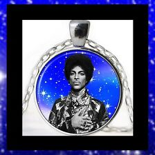 NEW - PRINCE MUSIC ARTIST STARS BACKGROUND GLASS OPTIC PENDANT NECKLACE