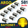 Bau15s 581 Indicator Led Py21w Amber Yellow Signal 1156 Car Bayonet Bulbs 12v