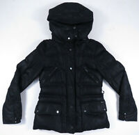 Zara Woman Down Puffer Quilted Black Hooded Full Zip Snap Womens Coat Jacket M