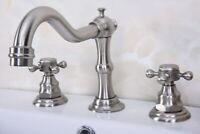 Widespread 3 Hole 2 Handle Bathroom Vanity Sink Faucet Brushed Nickel abn012