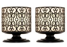 BATH & BODY WORKS DARK BROWN ORNATE HEART PEDESTAL 3 WICK CANDLE HOLDER - X2