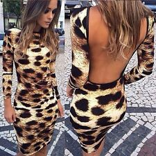 Fashion Women Sexy Leopard Backless Dresses The Halter Dress Clothes Elegant