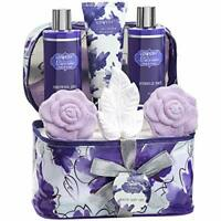 Bath and Body Gift Set For Women - Lavender & Jasmine Spa Set in Cosmetic Bag