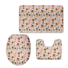Toilet Seat Covers Mat 3 Piece Set Warmer Soft Bathroom Carpet Cute Pug Designer