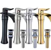 BWE Waterfall Spout Single Handle Bathroom Vessel Sink Faucet Basin Mixer Tap
