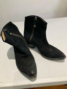 Frye's Ladies Black Suede Zip up Cowboy Ankle Boots UK 6 - 6.5B US 8B