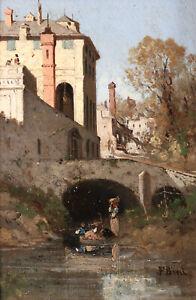 FABIUS BREST (1823-1900) SIGNED FRENCH ORIENTALIST OIL PANEL - WASHERWOMEN RIVER