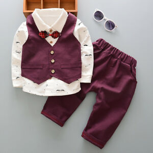 Kids Baby Boy Formal Outfits Clothing Sets Infant Boys Bow Tie Clothes Set Suits
