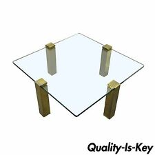 The Brass Collection Modern Floating Glass & Brass Coffee Table Pace Style Vtg