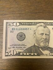 50 Dollar Bill Star Note Series 2013 Low Fancy Serial Number MB 01608857*