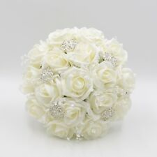 Artificial Wedding Flowers Bridesmaids Posy Bouquet Ivory Roses with Brooches
