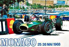 MONACO  1968  Grand Prix  Motos Automobile Car Race  Deco Auto  Poster Print