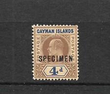 CAYMAN ISLANDS 1907  4d  KEVII  MLH  SPECIMEN    SG 13s