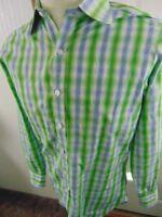 TURNBULL & ASSER Men's 100% Cotton Size 39 15 1/2-36 Green Blue Check L/S Shirt