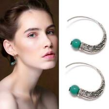 Vintage Boho 925 Silver Turquoise Gemstone Drop Dangle Hooks Earring Women D5V0