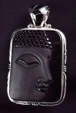 Black Obsidian Buddha Face Pendant Sterling Silver .925 Inlaid Bail Elegant