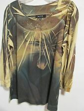 BLEU women size L Brown BLING 3/4 sleeve Lot#8