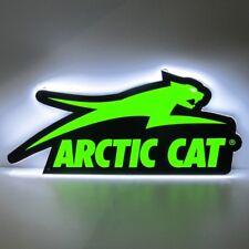 Arctic Cat LED Aircat Garage Sign Snowmobile ATV Wall - Black & Green - 7639-870