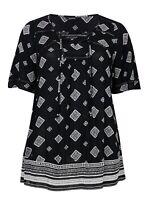 Evans ladies blouse top plus size 14 18 20 22 24 26 28 30 black aztec print