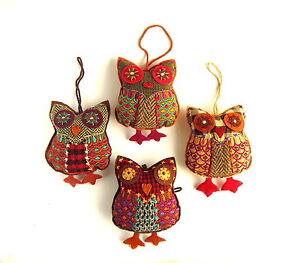 Embroidered Owl, Fair Trade, Home Decor, Assorted Colours, Gift, Xmas Decoration