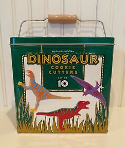 WILLIAMS - SONOMA DINOSAUR COOKIE CUTTERS SET OF 10 PLUS STORAGE TIN