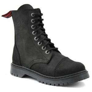 Angry Itch 8 Hole Punk Vintage Vintage Black Leather Army Ranger Boot Light Sole