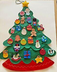 Hallmark Countdown to Christmas Kids Advent Calendar Felt Tree Ornaments 2004