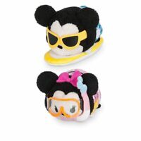 Disney Store Mickey & Minnie Mouse Hawaii Tsum Tsum 2pc Plush Set Toys 3 1/2""