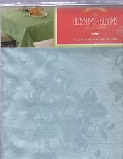 "NEW BLOSSOMS & BLOOMS SPRING BLUE FLORAL WOVEN TABLECLOTH (60""X102"" OBLONG/"