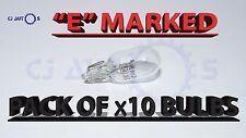 501 BULBS SIDE LIGHT NUMBER PLATE PUSH IN CAR CAPLESS TAIL LIGHT X10 PACK 12V 5W