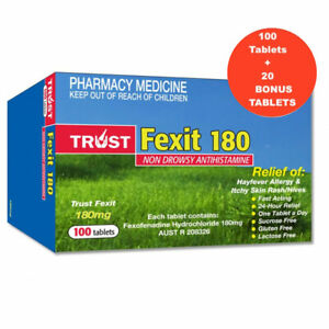 TRUST FEXOFENADINE 180MG SAME AS TELFAST 180MG TABLETS (100+20 FREE)  EXP. 10/23