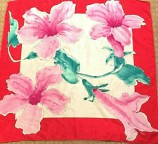Vintage Womens Vera Neumann Orchid Lily Scarf, Hot Pink & Red Silk Hand Roll Hem
