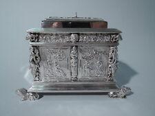 Antique Tea Caddy - Neoclassical Furniture Box - Dutch Silver