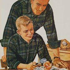 1962 Pendleton Plaid Shirts father son stamp collecting photo art decor print ad
