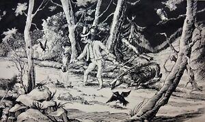 Hans-Heinz Eisele (1896-1981) signierte Zeichnung, Lagerfeuer bei Nacht im Wald