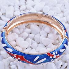 Statement Charm Gold Filled Deep Blue bracelet Enamel bangle charms bracelet
