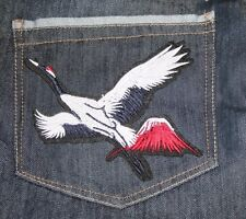 Crane Embroidered Sew, Iron On Patch for Clothes, Jeans, Bag Fabric Applique DIY