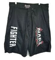 Naga Mens Embroidered Fighter Shorts Sz 36 Black Red White Applique Mesh Lined
