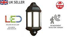 LED Black PIR Half Lantern Security Light 9 WATT  POLYCARBONATE OPAL DIFFUSER