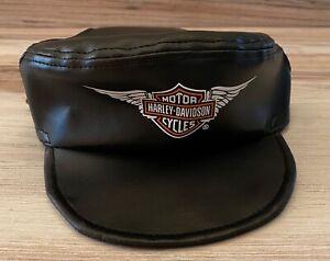 NEW HARLEY-DAVIDSON FAUX BLACK LEATHER BIKER-DOG CANINE HAT CAP VISOR -  LARGE