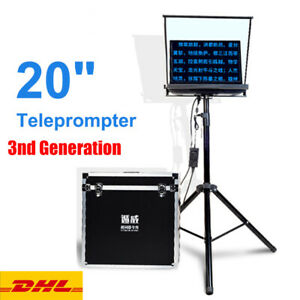 """20"""" inch Portable Folding Teleprompter with Tipod Suitcase For Video Interview"""