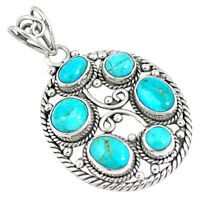 8.70cts Natural Green Kingman Turquoise 925 Sterling Silver Pendant P7826
