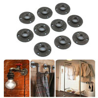 """10Pcs 3/4"""" Malleable Threaded Floor Flange Iron Pipe Fittings Wall Mount Black"""