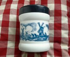 Blue & White Opaline/Milk Glass Dutch Cigar Jar/ Humidor Windmill Design