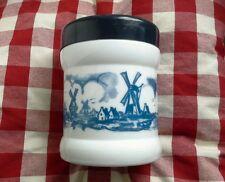 Blue & White Opaline/Milk Glass Dutch Cigar Jar/ Humidor Windmill Design