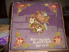 """#1/17 antique wool needlepoint 3/ 1870 by Mary Beynon Partyfrnon AS IS BIRD 16"""""""