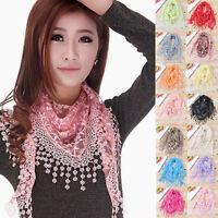 Fahion Women Lace Hollow Shawl Neck Soft Wrap Tassel Floral Print Triangle Scarf