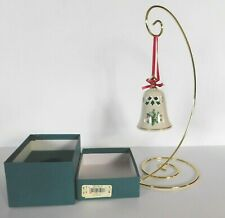 Lenox China Ivory Holiday Pierced Bell Ornament Holly & Berries Gold Trim in Box